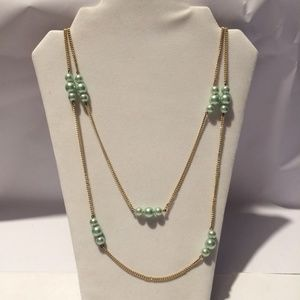 Vintage mint greed beaded statement necklace